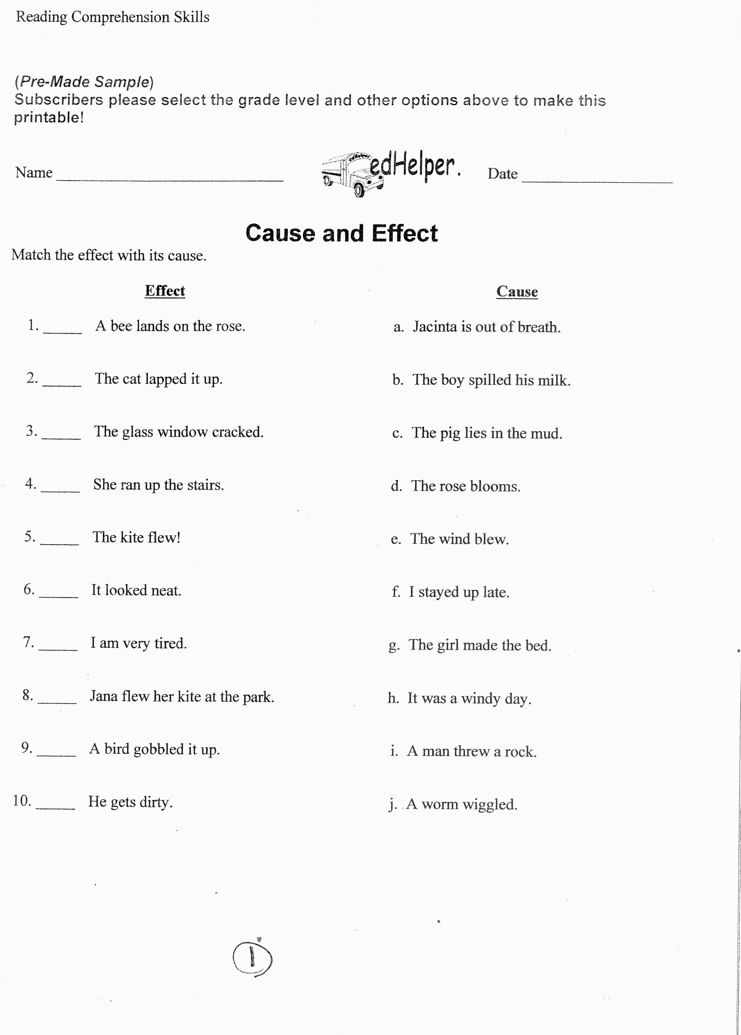 medium resolution of Language Arts Worksheet. Cause and Effect.