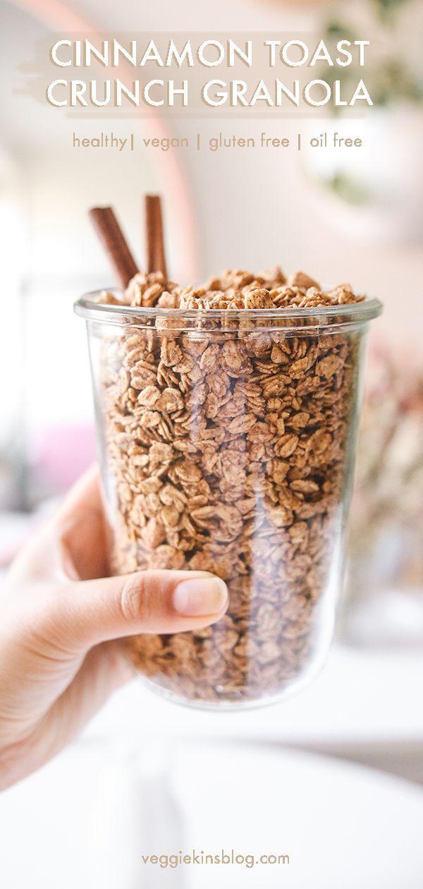 Vegan Cinnamon Toast Crunch Granola (gluten free, oil free, refined sugar free) | Veggiekins Blog