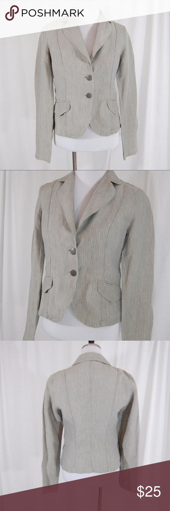 Sisley linen lightweight jacket benetton jeans size and striped conditioning geenschuldenfo Image collections