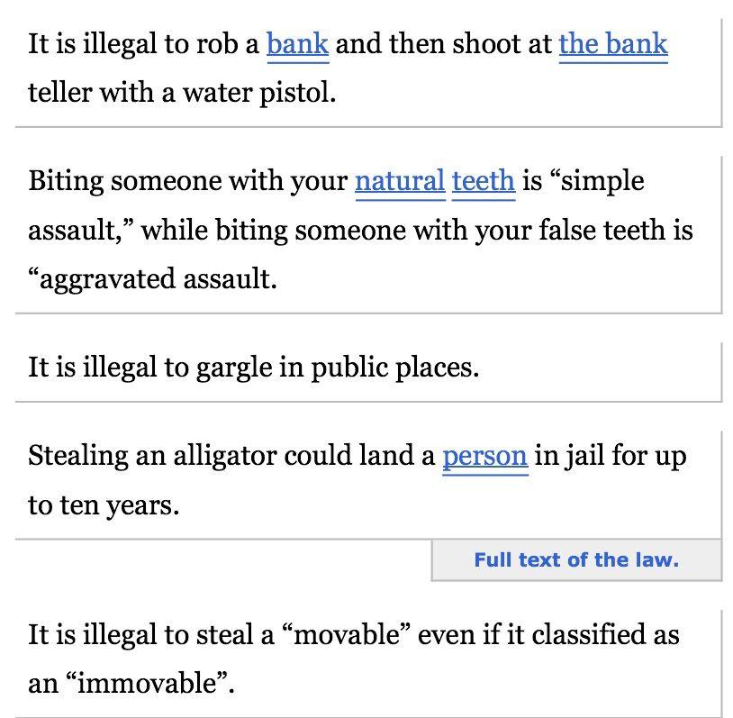 Dumb louisiana laws