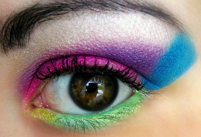 Muliticolor magic    80's Makeup by Lady Pandacat, via Flickr