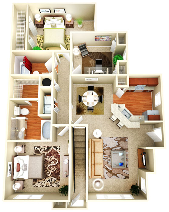 Bedrooms Style Plans apartment/condo floor plans  1 bedroom, 2 bedroom, 3 bedroom and