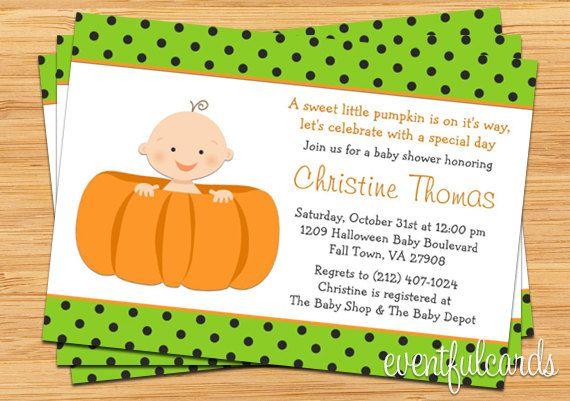 Halloween Pumpkin Baby Shower Invitation   Boy Or Girl   Printable