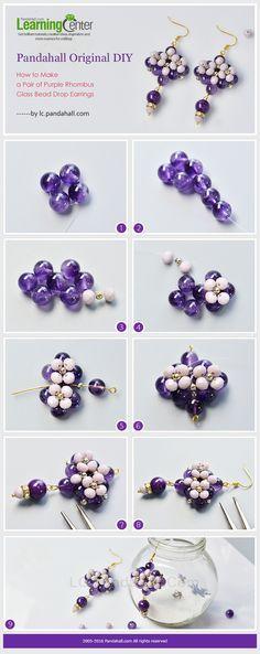 Pandahall Original DIY - How to Make a Pair of Purple Rhombus Glass ...