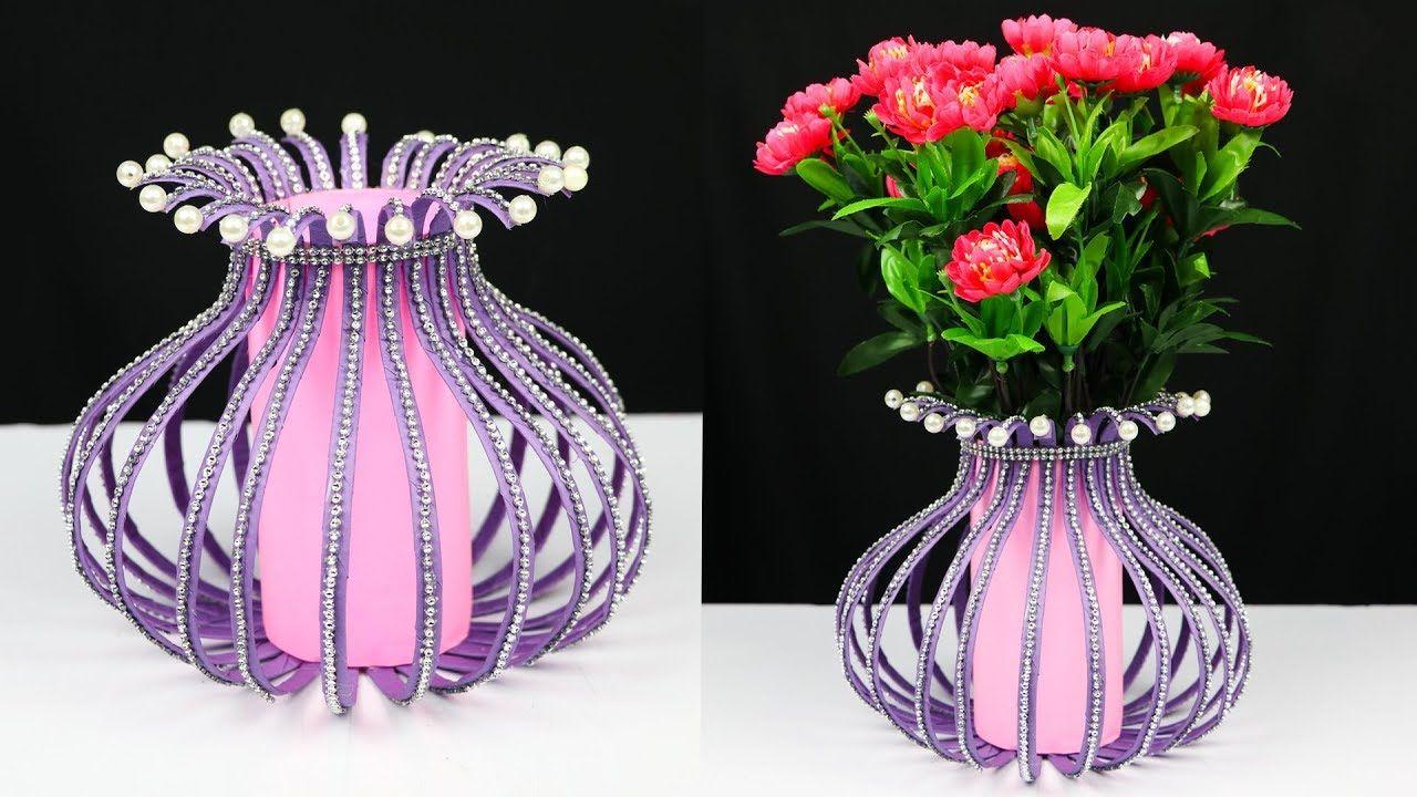 How To Make A Plastic Bottle Flower Vase For Home Decoration Plastic Bottle Craft Ideas Dubai Khalifa