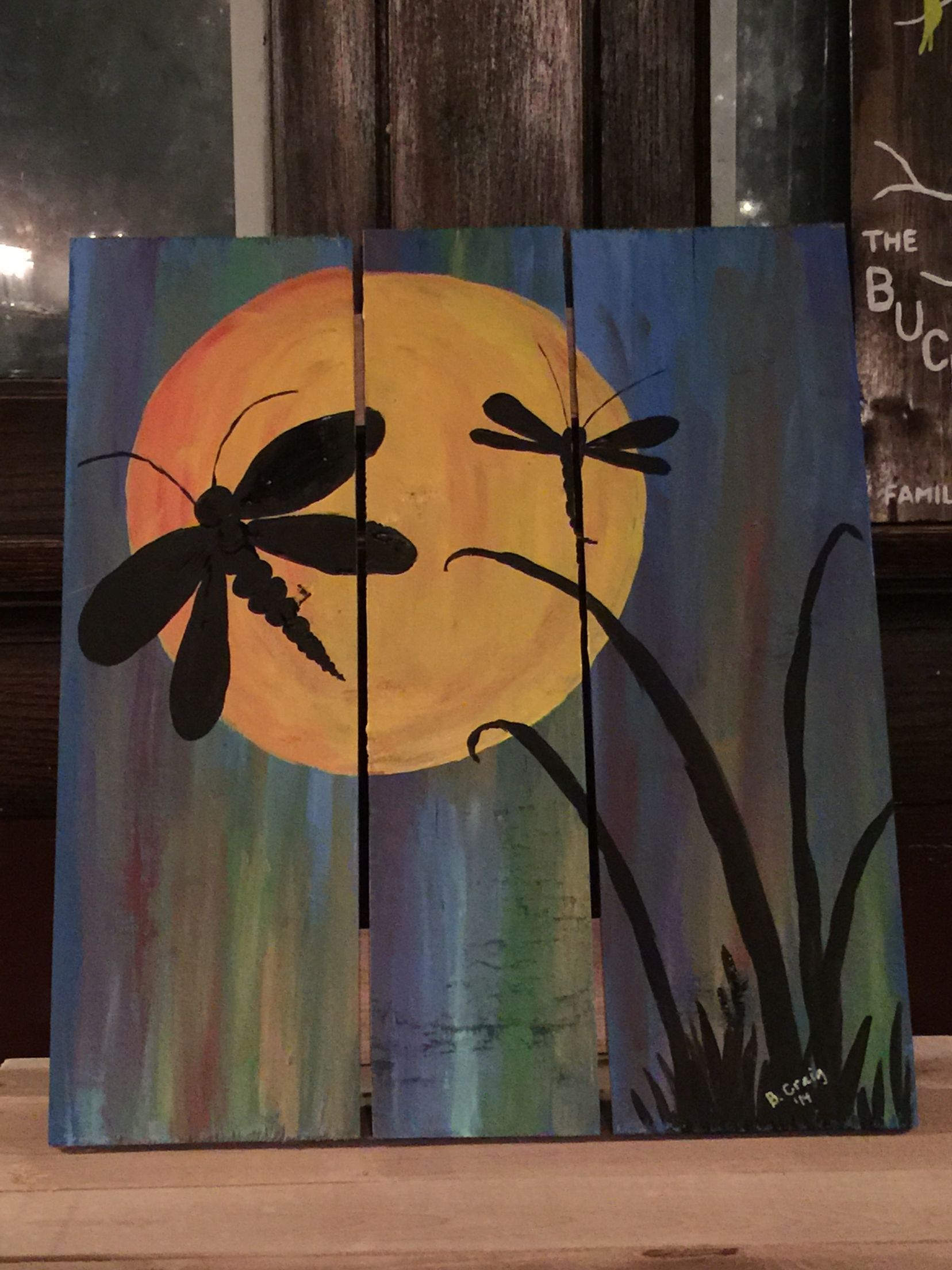 Dragonfly Painting Acrylic On Wood