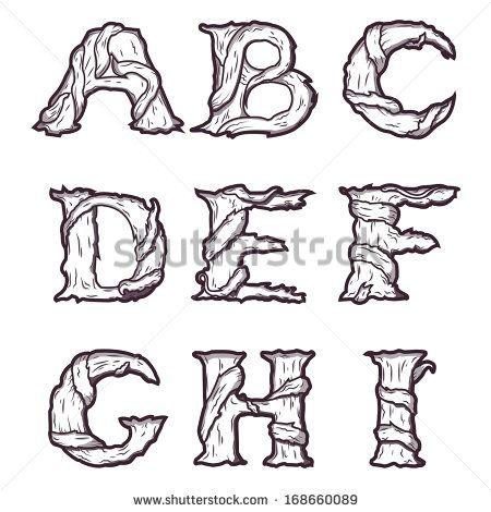 Halloween decorative alphabet - Tree & roots letters, font. Raster ...