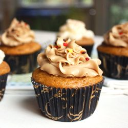 Pumpkin cupcakes with two different frosting choices: caramel or cinnamon cream cheese. Both are amazing!