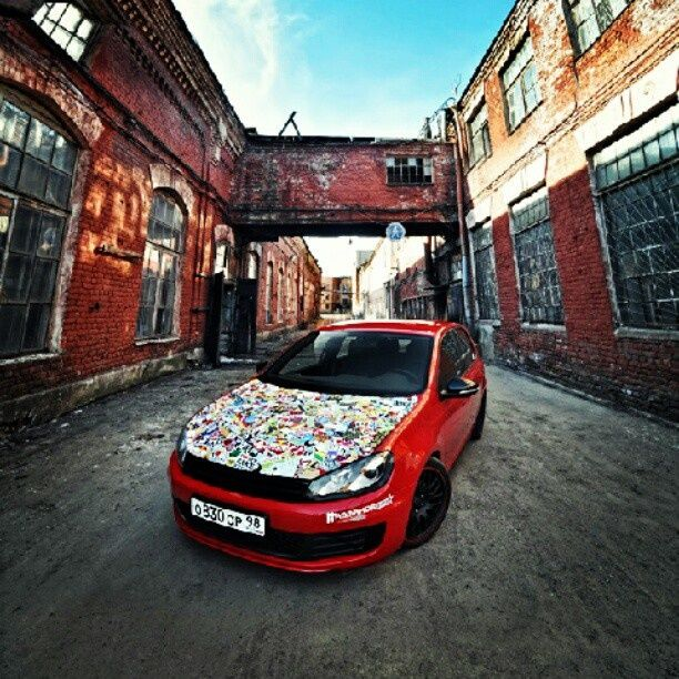 Sticker bombed vw golf