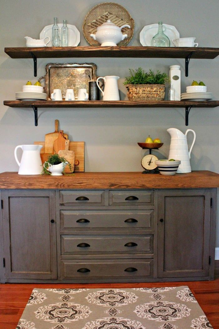 2 Buffet Table With Open Shelving I U0027m Sharon With You Our New Buffet Before And After On Dini Dining Room Buffet Dining Room Shelves Rustic Kitchen Decor