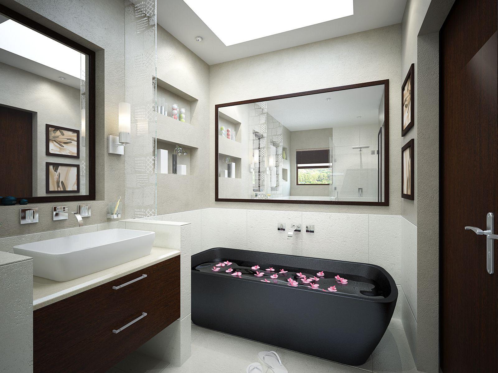 Sample Bathroom Designs Modern Small Black Bathtub For Modern Small Bathroom Design  Some