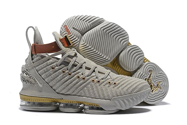 f6de54d1c0f6 This Nike LeBron 16 XVI HFR of the creme colored pair show that it features  a removable leather strap around the ankle and a more pronounced lion head  ...