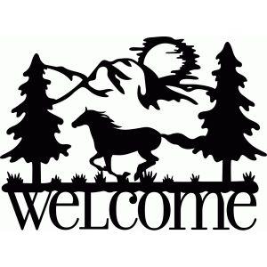 Silhouette Design Store Welcome Sign Horse Run Clip Art