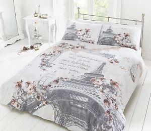 Paris Romance Duvet Cover Bedding Quilt Set /& Pillowcases Single Double King New