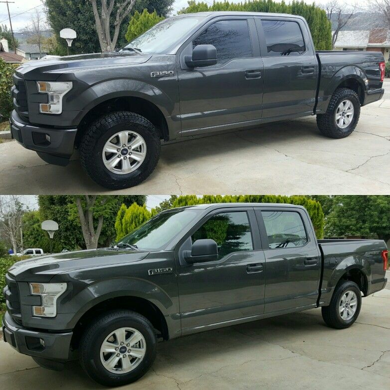 Before Lower After Upper 2016 F150 Xl Supercrew Sport 2wd 2 5 Rough Country Leveling Kit 285 70 R17 Falken Wildpeak A Ford Trucks F150 Lifted Trucks
