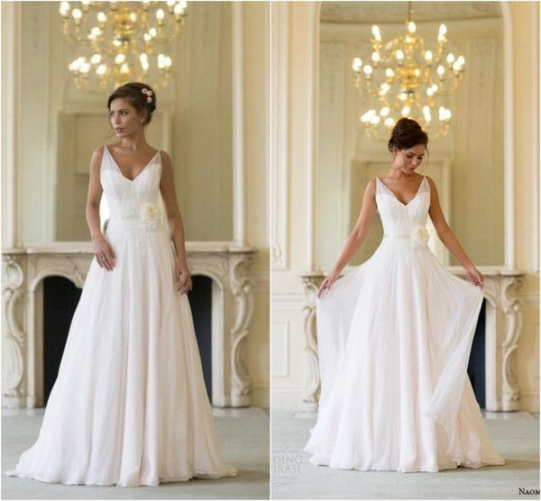 Grecian Backless Beach Wedding Dresses V Neck Flowing Vintage Boho