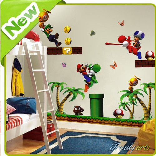Super Mario Wall Stickers Decal Decor Art For Nursery Kids Boy Bedroom  Wallpaper | EBay