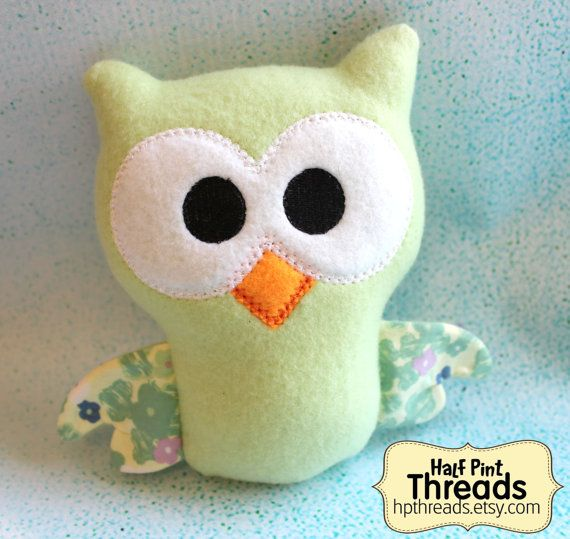 Green Cuddle Owl Owl Stuffed Toy Plush Owl by HPThreads on Etsy, $13.00