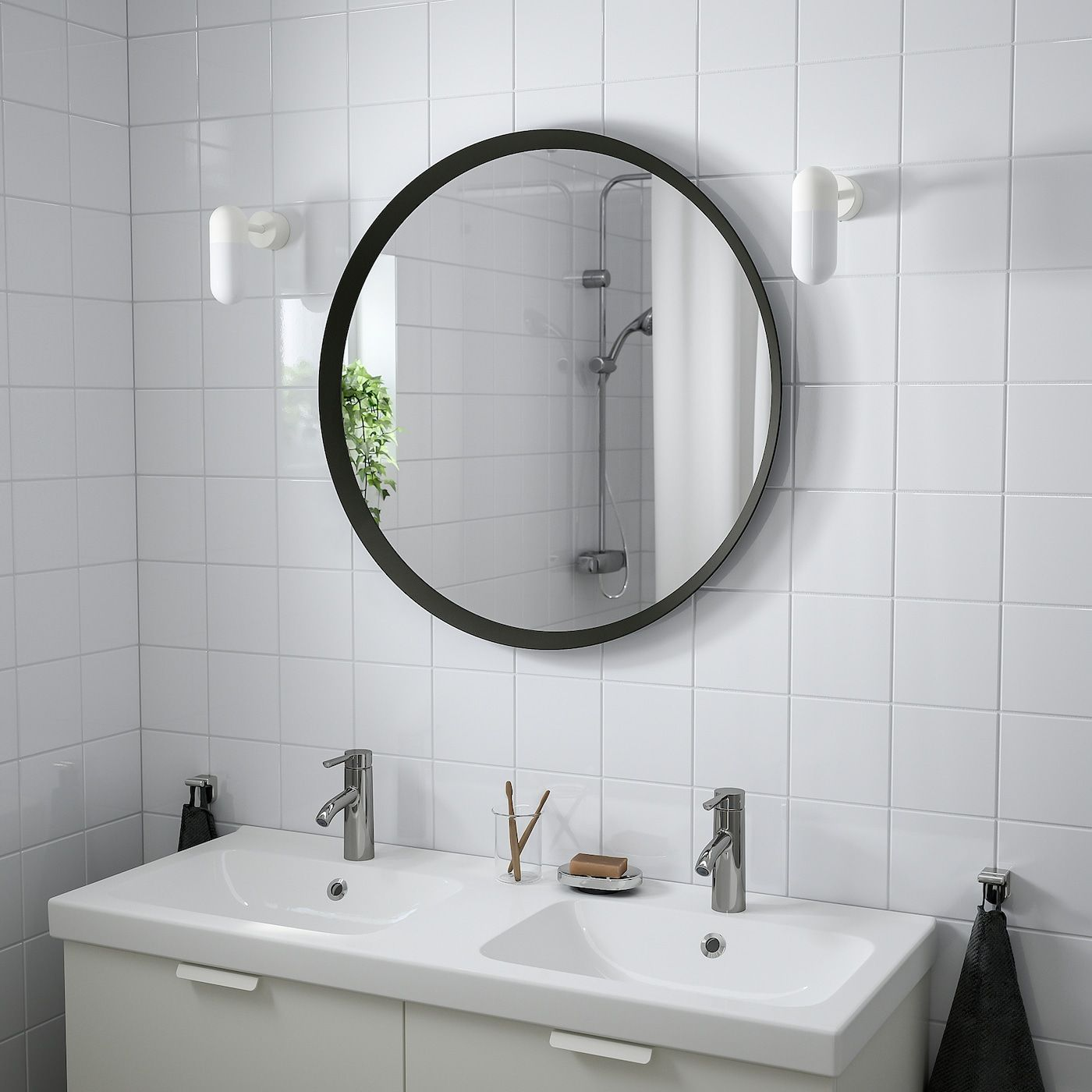 Langesund Mirror Dark Gray Ikea In 2020 Mirror Wall Lamp