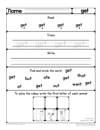 Sight Word Get Worksheet Primarylearning Org Sight Word Worksheets Sight Words Learning Sight Words