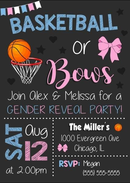 basketball or bows gender reveal party invitation printable baby