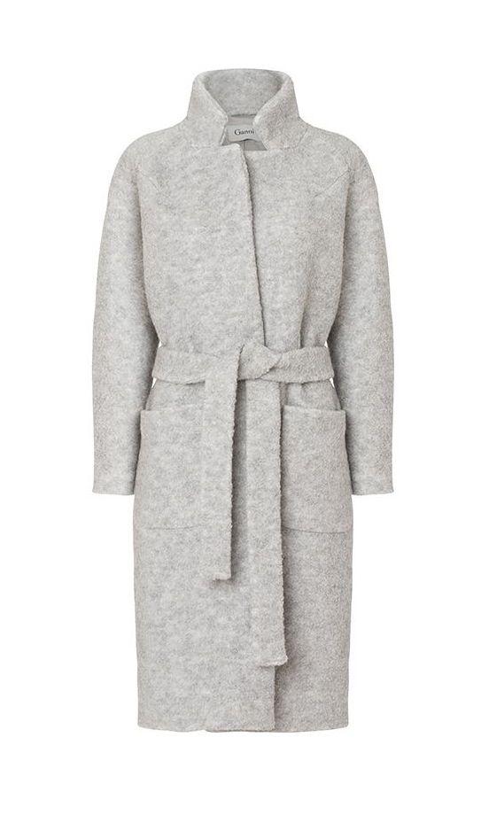 MINIMAL + CLASSIC: grey blanket coat by Ganni   Ganni.com
