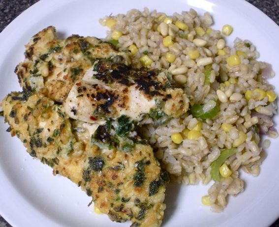 Herb Pine Nut Chicken with Vegetable Pearl Barley