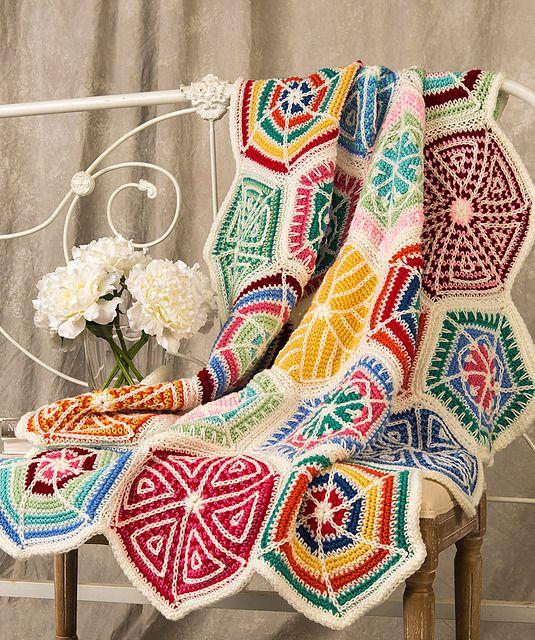Free Crochet Pattern: Mandala Sampler Throw, from Red Heart ...