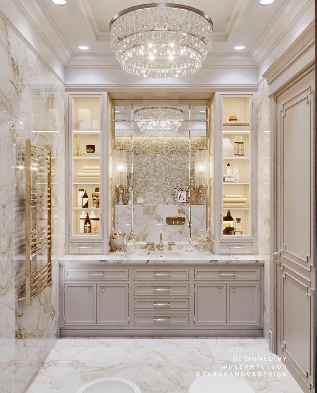 What a luxurious classic powder room ???? Follow @simplyuniquespace - - - By @desartdecor  #simplyuniquespace #bathroomdesign #modernpowderrooms