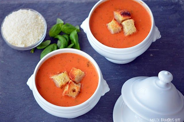 Tomato Basil Soup.  Perfect with a classic grilled cheese on a fall evening.