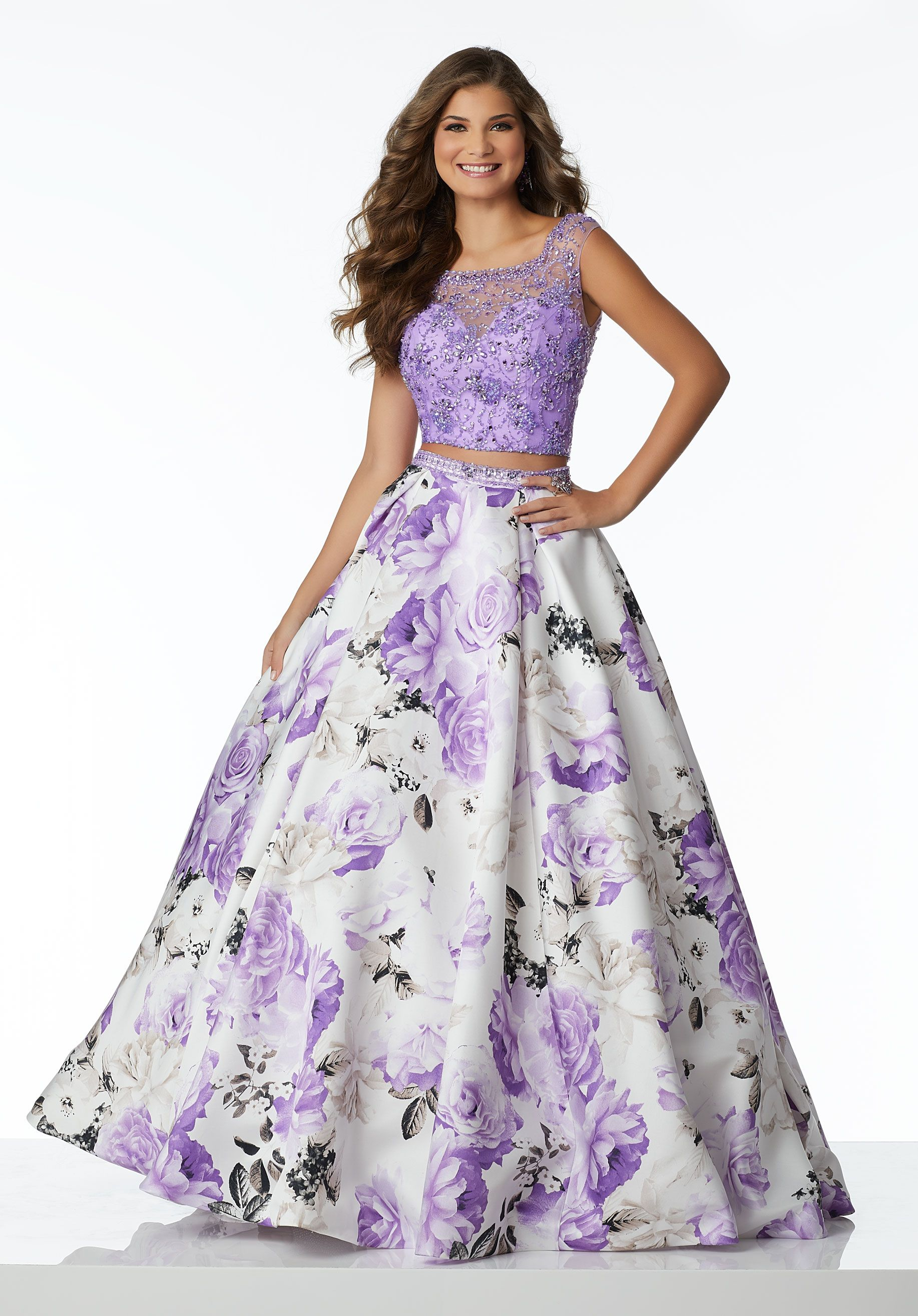 Floral Printed Two-Piece Ballgown Featuring a Delicately Beaded Bodice and  Full A-Line Skirt ead15bb50b9e