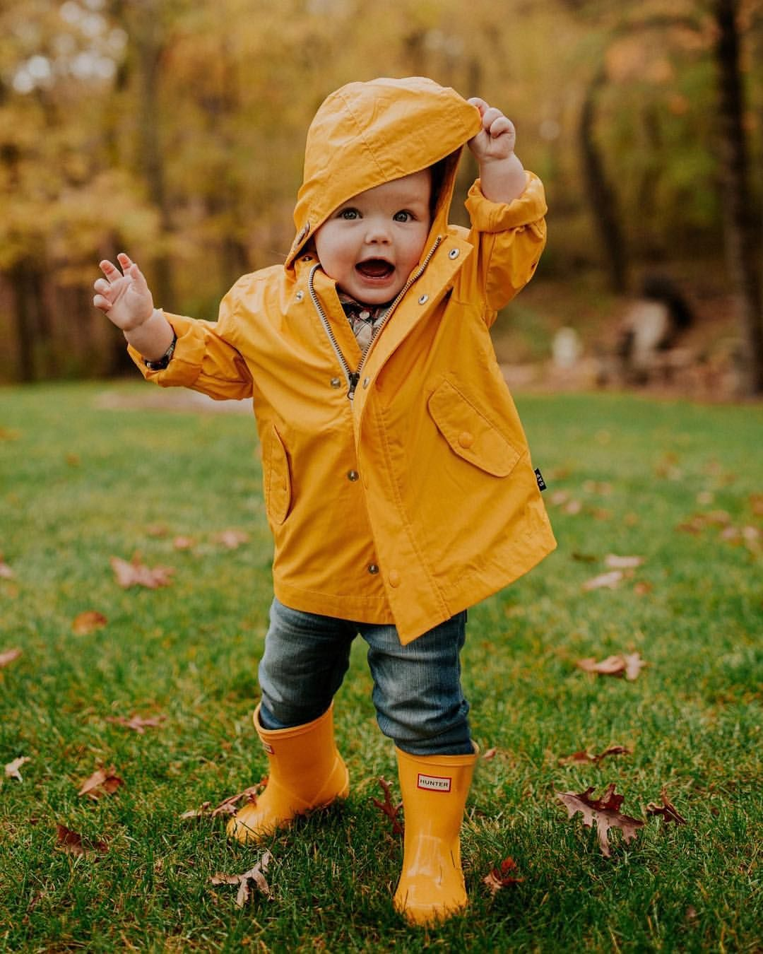 Yellow Hunter boots on the cutest baby