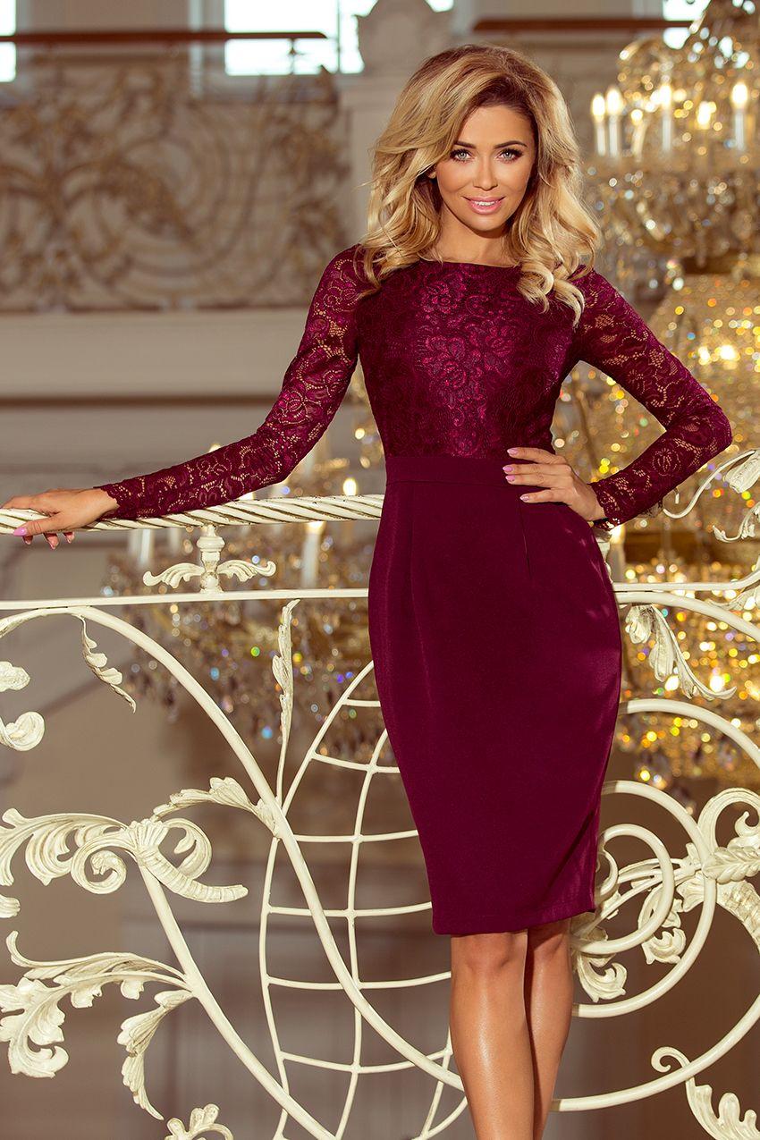 7c230ef9e282 Elegantní pouzdrové šaty Numoco 216-3 s dlouhým rukávem bordó ...