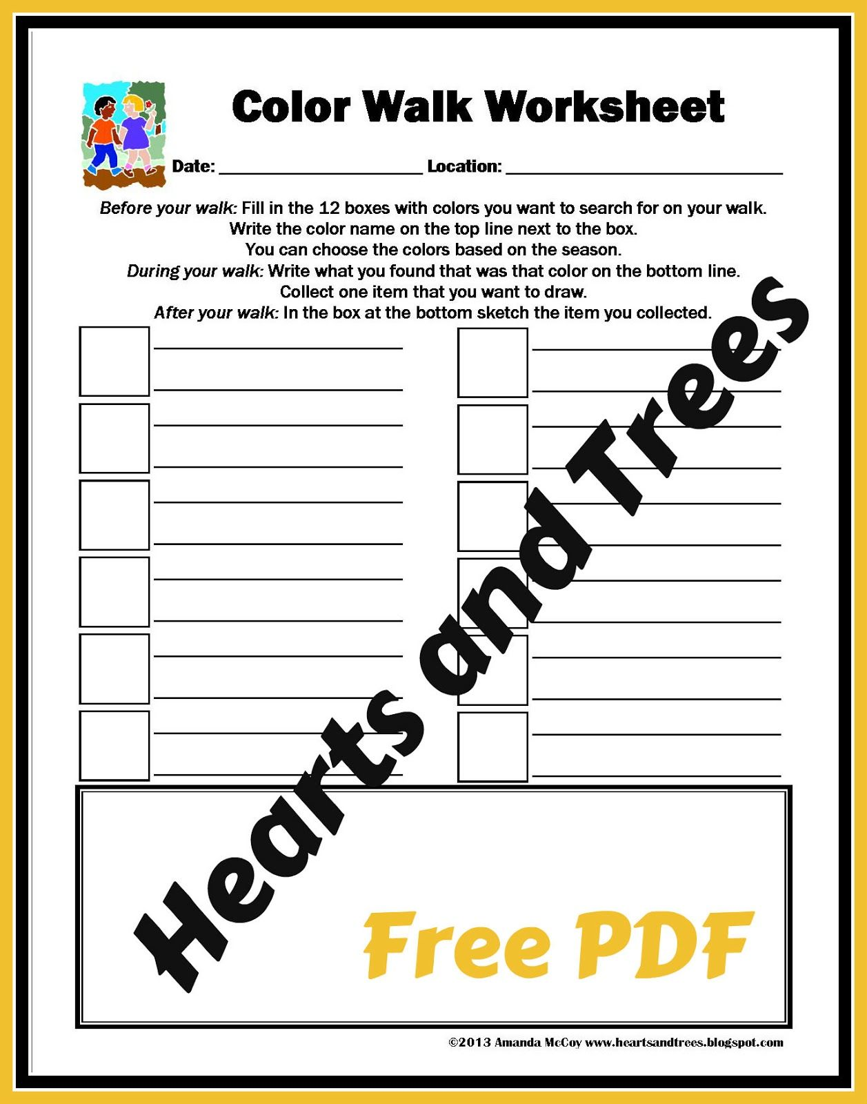 Free Printable Color Walk Worksheet