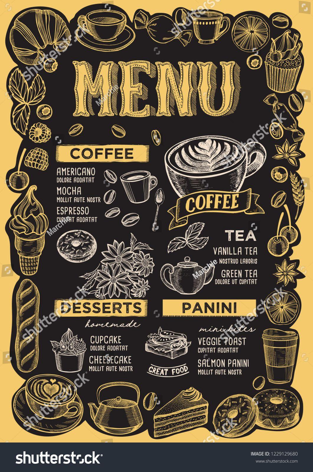 Coffee Menu Template For Restaurant On A Blackboard Background Vector Illustration Brochure For Food And Drink Cafe In 2020 Bakery Menu Menu Template Food Menu Design