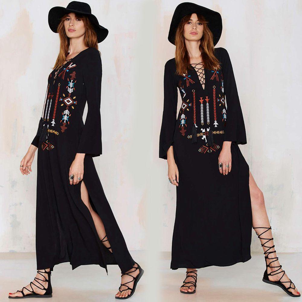 058d53cc5 Cheap Boho mujeres vestido largo folk maxi negro vestido bordado ...
