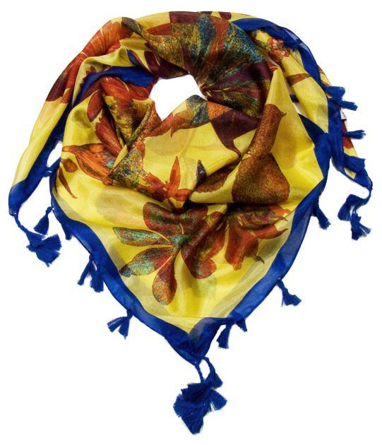 Foulard en soie pompons jaune marguerites - Foulard soie carré - Mes  Echarpes ae2f368aec1