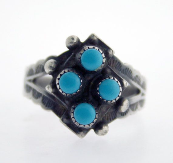 Vintage 4-Stone Turquoise and Sterling Silver by WhitesVintage