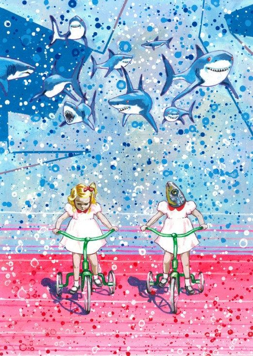 Girls on Bicycles with Sharks by Julie Filipenko