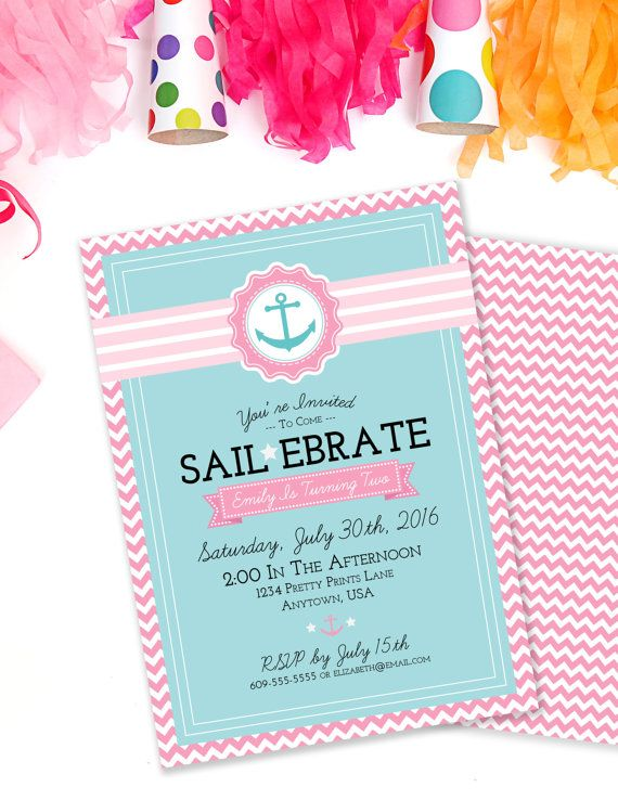 sailebrate birthday invite nautical birthday invitation girls
