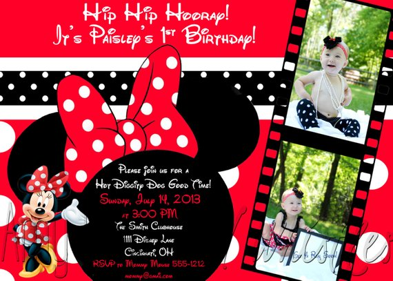 Custom Personalized Red Or Pink Minnie Mouse Birthday Photo Invitation