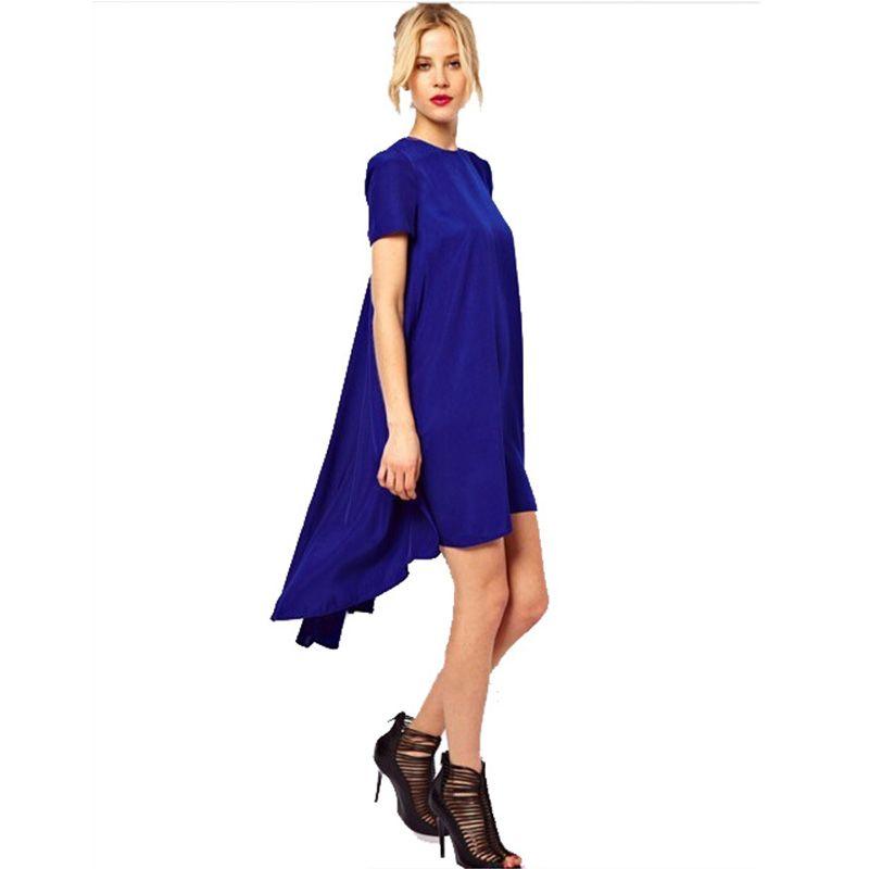 Women Casual Beach Tunic Women\'s Black Short Sleeve Dress Irregular ...