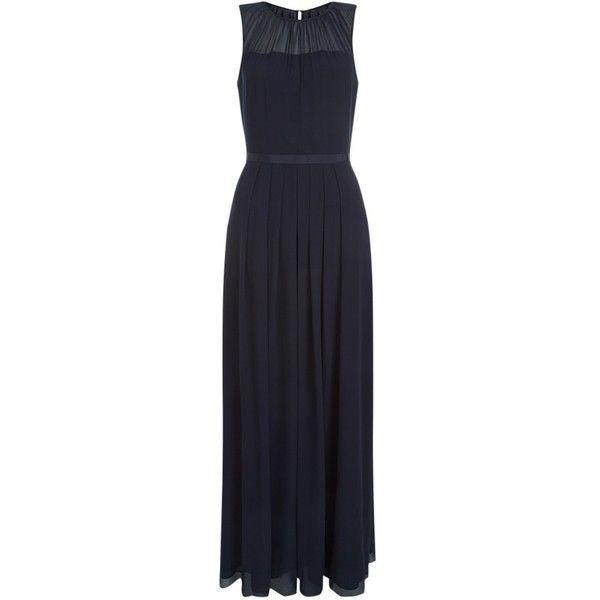 Hobbs Stephanie Maxi Dress, Navy ($225) ❤ liked on Polyvore featuring dresses, long-sleeve mini dress, sleeve maxi dress, sleeveless maxi dress, pleated maxi dress and blue dress