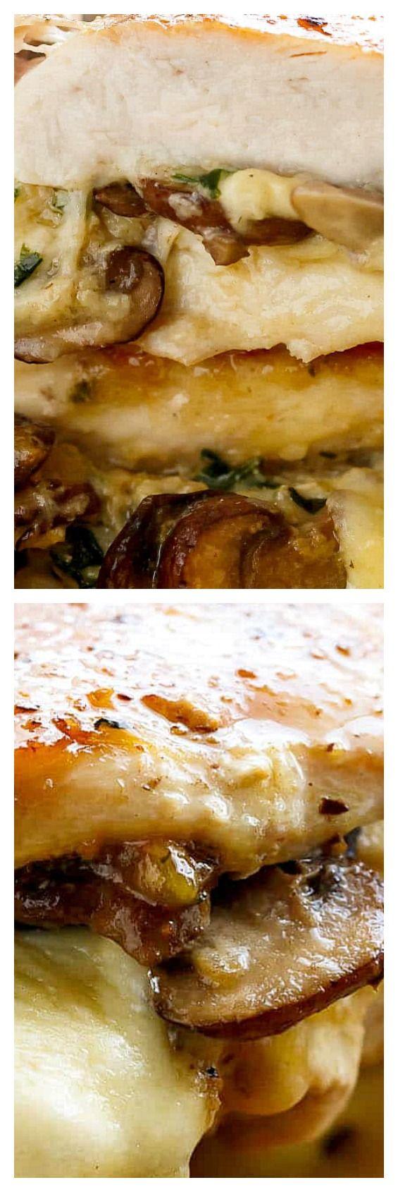 Cheesy Garlic Butter Mushroom Stuffed Chicken | Cooking ...