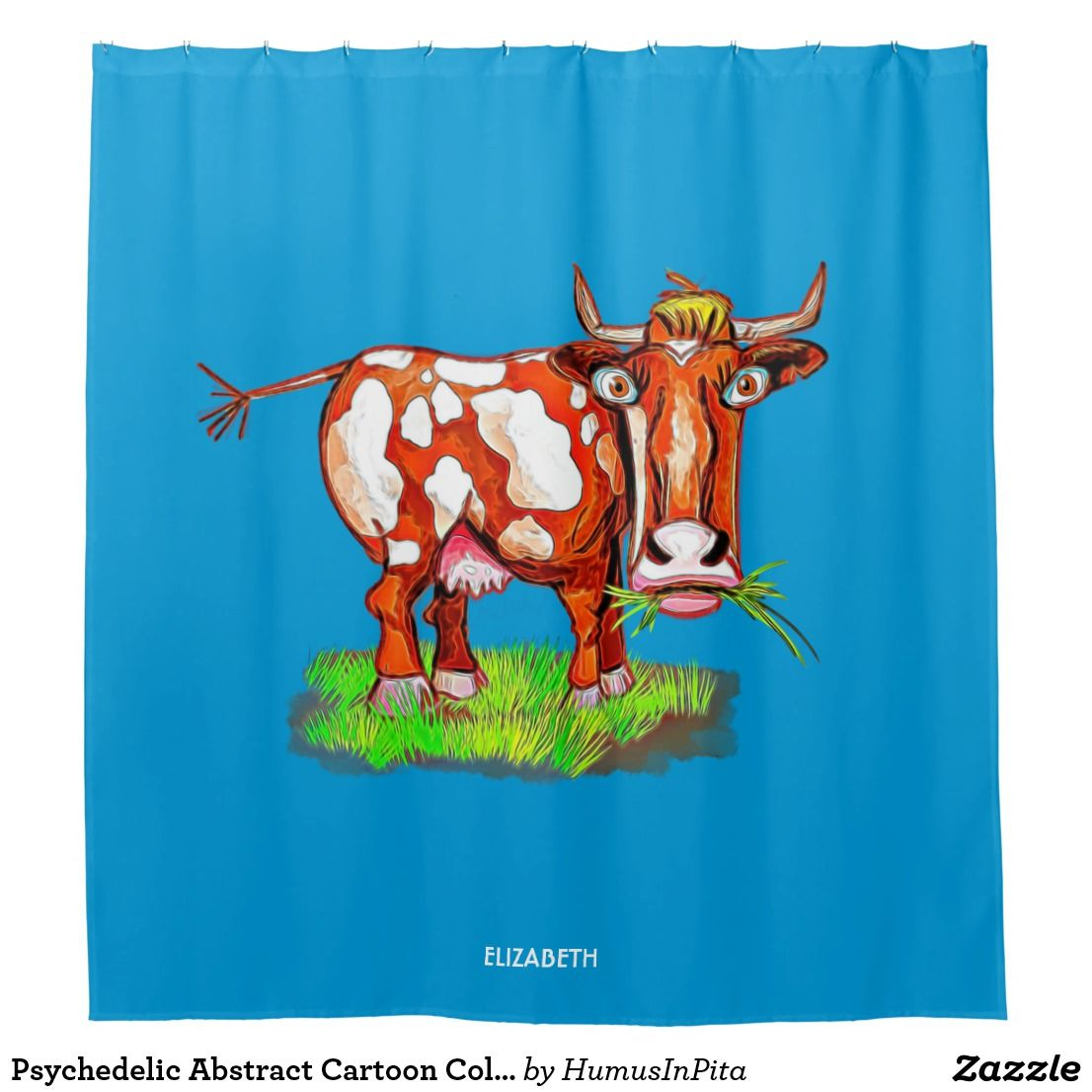 Psychedelic Abstract Cartoon Colorful Funny Cow Shower Curtain