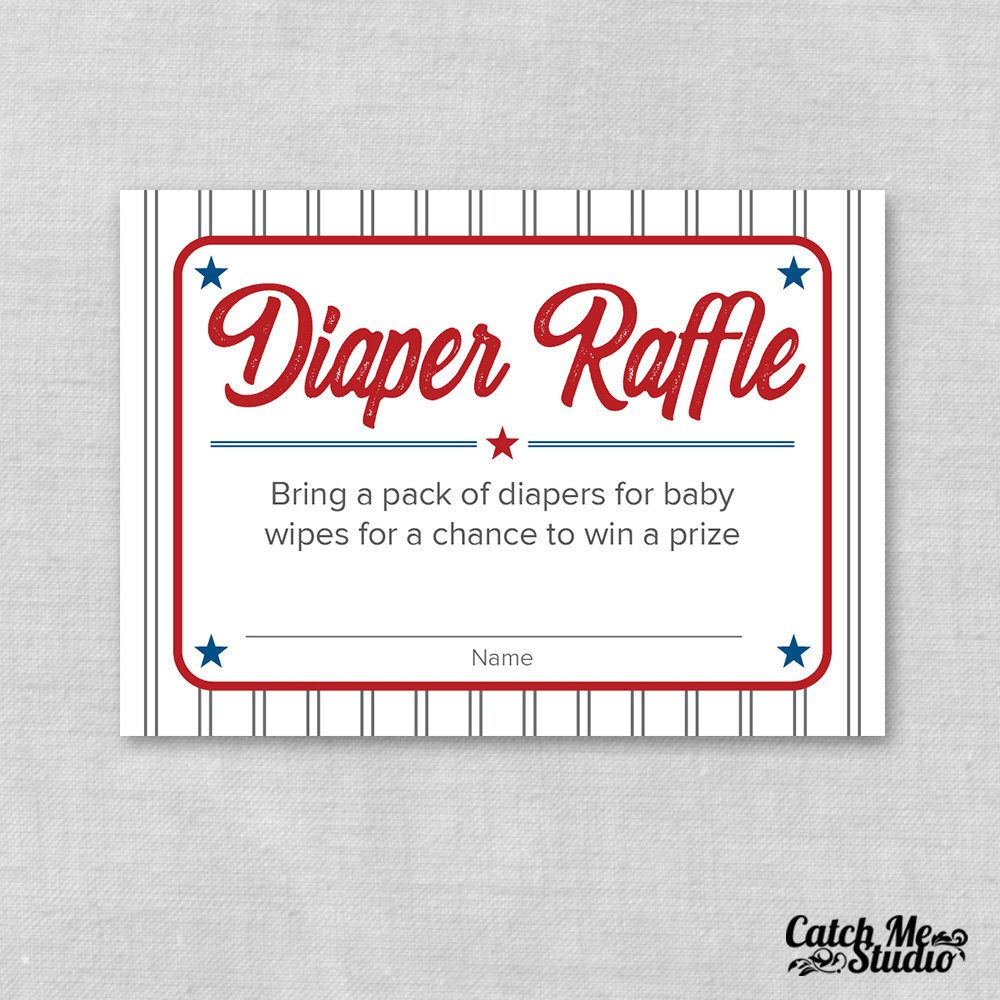 Baseball Baby Shower Diaper Raffle Ticket Printable Baseball