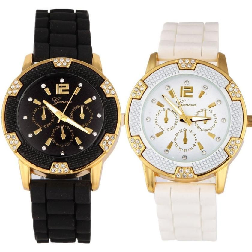 $6.45 (Buy here: http://appdeal.ru/5msy ) Brand Luxury Black Classic Couple Lover Women Men geneva watch Quartz Rosegold Faux Chronograph Silicone Watch Rhinestones Lucky for just $6.45