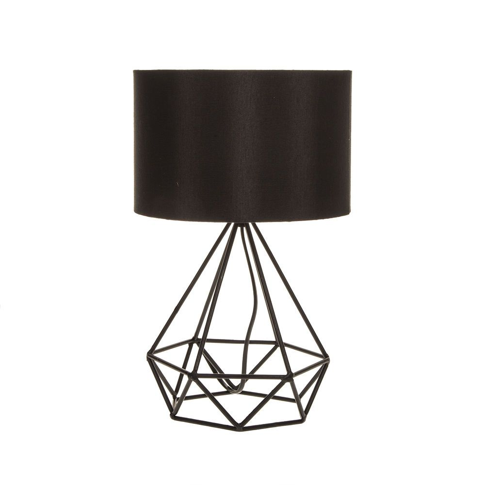 Diamond Shape Industrial Wired Table Lamp Black Tripod Geometric Light  Modern
