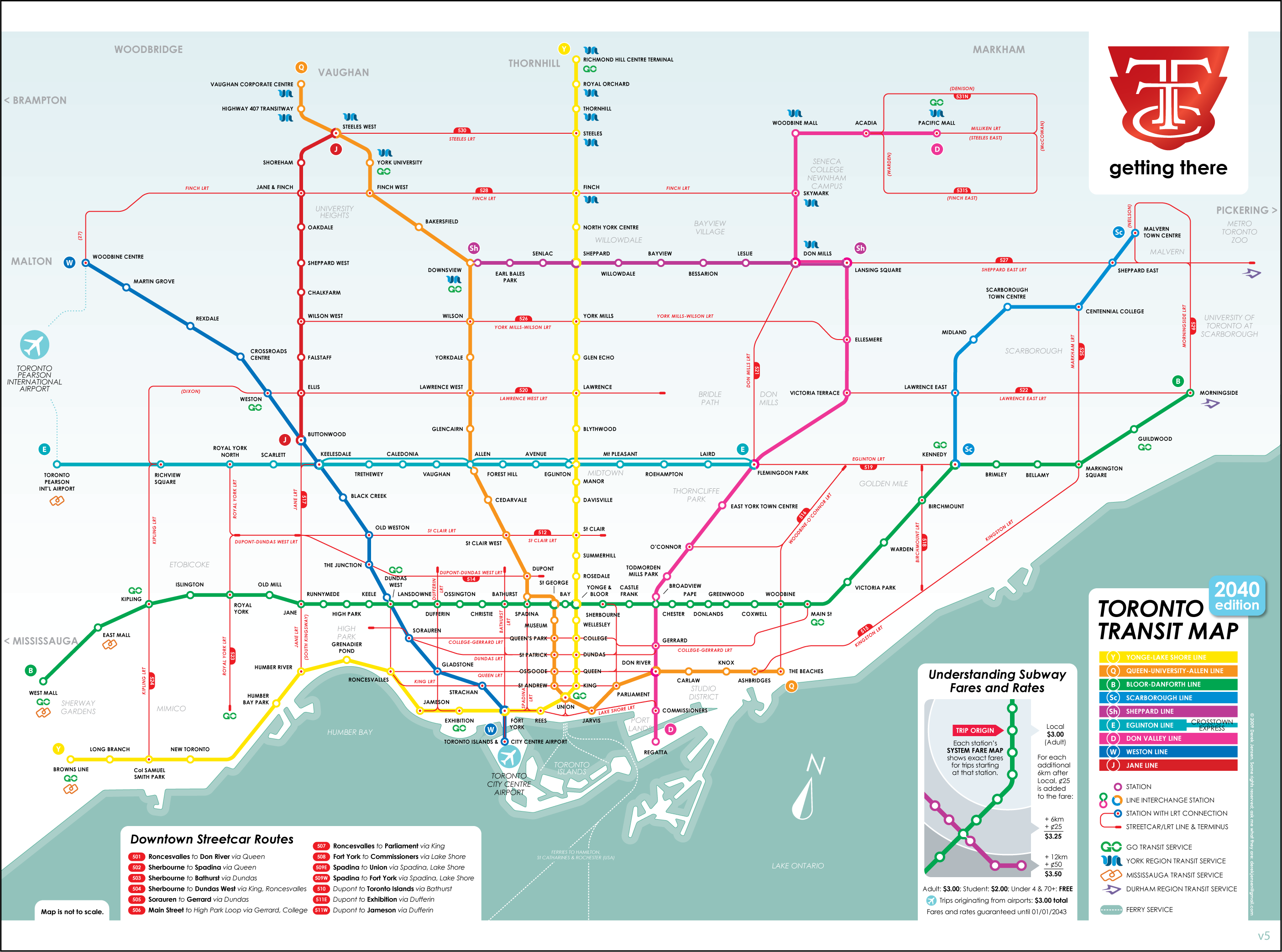 Toronto Subway Map.Ttc 2040 Map Transit In 2019 Subway Map Fantasy Map Map
