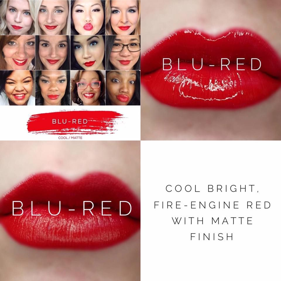 Blu Red LipSense lipstick - Matte, bright red, and beautiful! Lasts 4-18 hours, and is smudge-proof, vegan, and cruelty free!